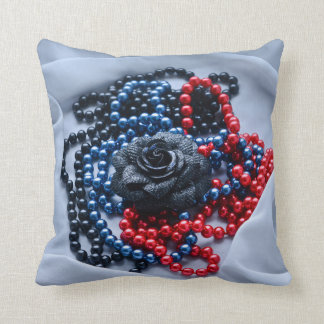 Beaded rose composition throw pillow