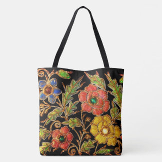 Beaded Victorian Flowers Tote Bag