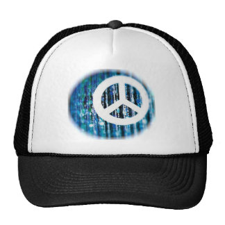 Beads, blue with peace sign trucker hats