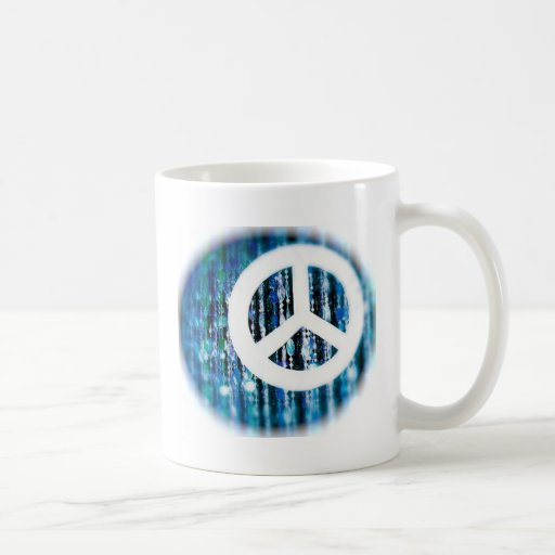 Beads, blue with peace sign mugs