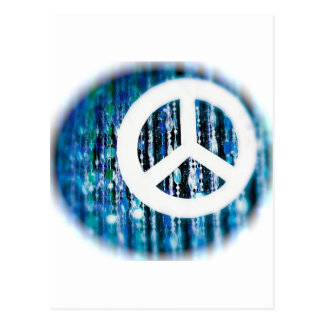 Beads, blue with peace sign postcard