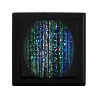 beads, green and blue on black gift box
