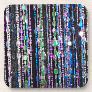 Beads, multi colored beverage coasters