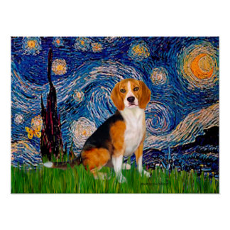 Beagle 7 - Starry Night Poster