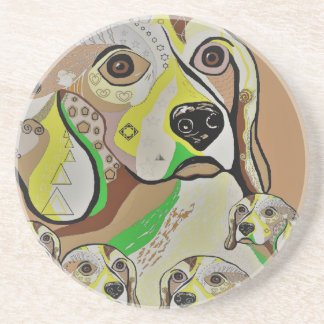 Beagle and Babies Brown Tones Coaster