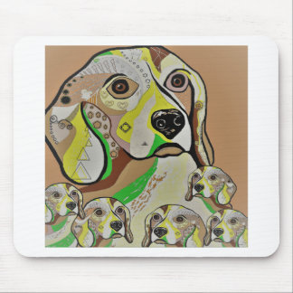 Beagle and Babies Brown Tones Mouse Pad