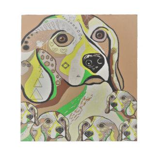 Beagle and Babies Brown Tones Notepad