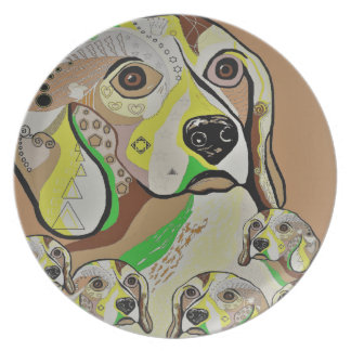 Beagle and Babies Brown Tones Plate