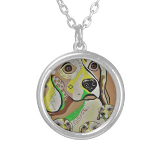 Beagle and Babies Brown Tones Silver Plated Necklace