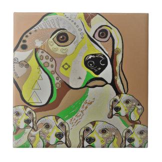 Beagle and Babies Brown Tones Tile