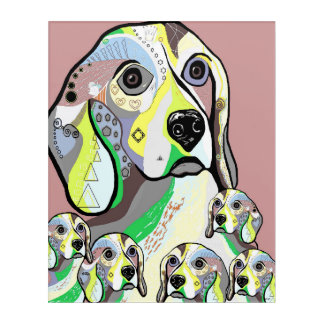 Beagle and Babies Soft Color Palette Acrylic Wall Art