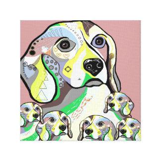 Beagle and Babies Soft Color Palette Canvas Print