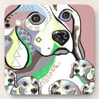 Beagle and Babies Soft Color Palette Coaster