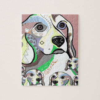 Beagle and Babies Soft Color Palette Jigsaw Puzzle