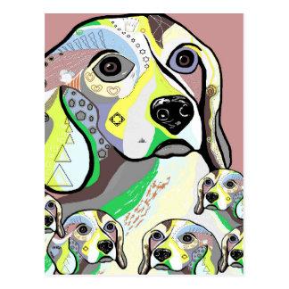 Beagle and Babies Soft Color Palette Postcard