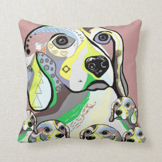 Beagle and Babies Soft Color Palette Throw Pillow