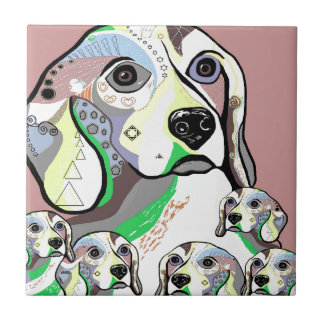 Beagle and Babies Soft Color Palette Tile