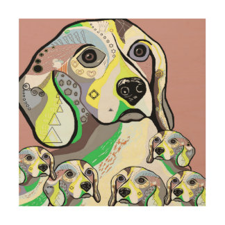 Beagle and Babies Soft Color Palette Wood Wall Art