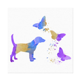 Beagle And Butterflies Canvas Print