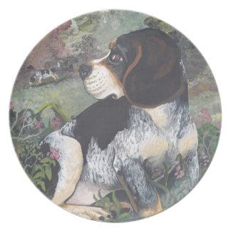 Beagle blue tick Puppy Dreamer Melamine Plate