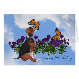 Beagle Butterflies Pansies Cute Birthday Card