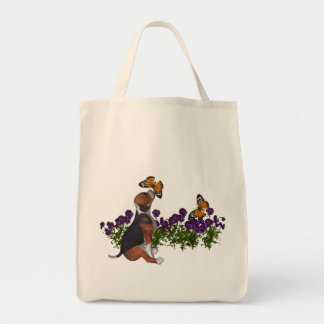 Beagle Butterflies Pansies Tote Bag