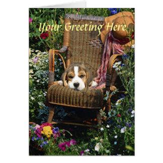 Beagle Card In Garden Chair