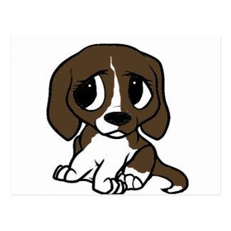 beagle cartoon brown white 2 postcard
