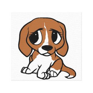 beagle cartoon red white canvas print