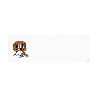 beagle cartoon red white return address label
