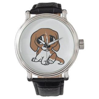 beagle cartoon red white watch