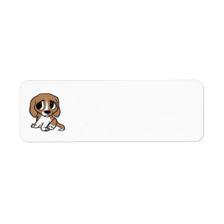 beagle cartoon tan white return address label