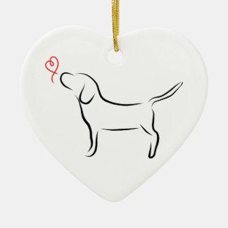 Beagle Ceramic Heart Ornament