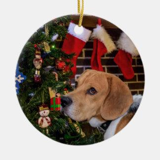 Beagle Christmas Ceramic Ornament