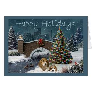 Beagle Christmas Evening Greeting Card