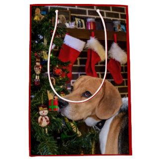 Beagle Christmas Medium Gift Bag