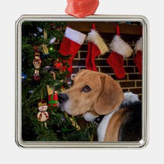 Beagle Christmas Metal Ornament