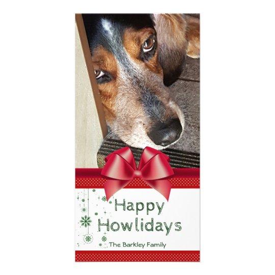 Beagle Christmas Photo Happy Howlidays Red Bow Card