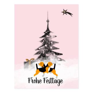 Beagle Christmas postcard black knows