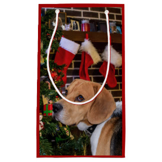 Beagle Christmas Small Gift Bag