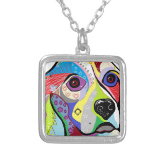 Beagle Close-up Silver Plated Necklace