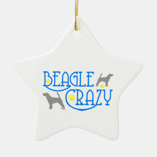 BEAGLE CRAZY CERAMIC ORNAMENT
