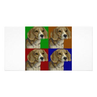 Beagle Dark Primary Color Collage Picture Card