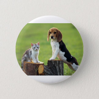 Beagle Dog And Grey Tabby Kitten 2 Inch Round Button