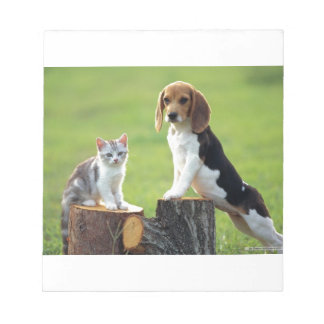 Beagle Dog And Grey Tabby Kitten Notepad