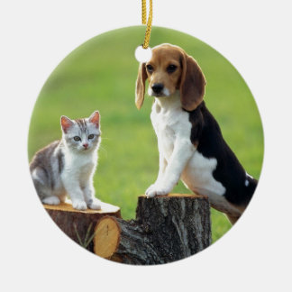 Beagle Dog And Grey Tabby Kitten Round Ceramic Ornament