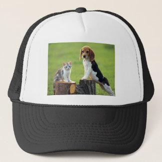 Beagle Dog And Grey Tabby Kitten Trucker Hat