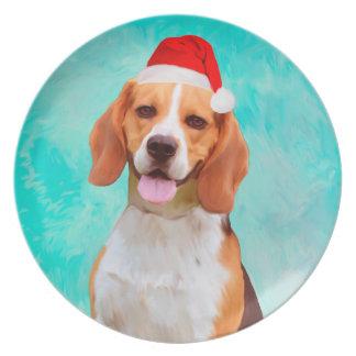 Beagle Dog Christmas Santa Hat Portrait Plate