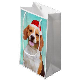 Beagle Dog Christmas Santa Hat Portrait Small Gift Bag