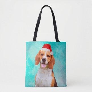 Beagle Dog Christmas Santa Hat Portrait Tote Bag